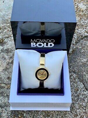 New Movado Bold Gold Tone Bangle with Swarovski Crystal Women's Watch