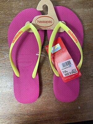 NEW Havaianas Slim Logo Pop Flip Flops Hollywood Rose Summer Sandals Sz 9/10 W