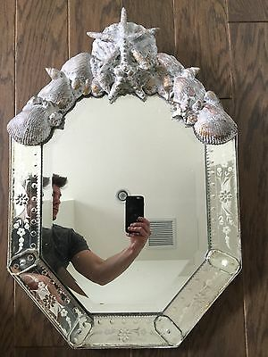 Antique Vintage Venetian Mirror Italian Oval Shell Etched Frame Glass Persian 20