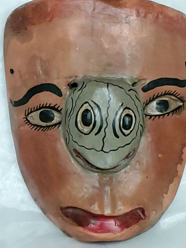 Vintage Hand Carved Wooden Carnival Mask, Mexican?