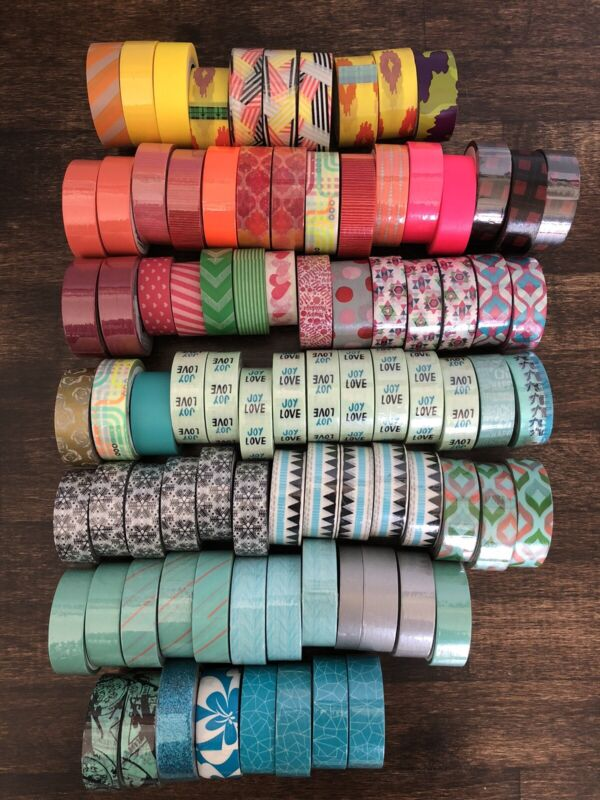 Lot Of 87 Washi Decorative Tape rolls Scotch & Target Brand New and Used Mixed