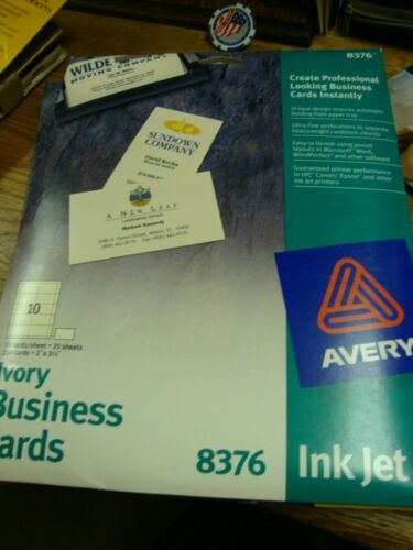 """Avery Ink Jet Ivory Business Cards, 2"""" X 3.5"""" 250 ct, 10 Cards/Sheet, 25 Sheets"""