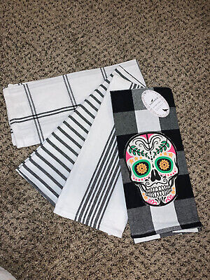 Halloween Skeleton Skull Dish Kitchen Towels Set Of 4 New With Tags
