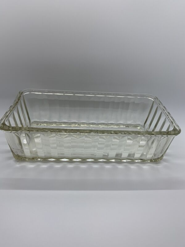 Vintage Clear Glass Ribbed Refrigerator Dishes 9 x 4.75 X 2.5 No Lid