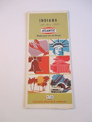 Vintage 1968 ATLANTIC INDIANA Gas Service Station Road Map