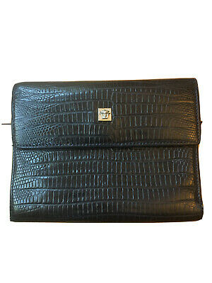 Gianni Versace Leather Wallet Black Lizard Medusa Trifold