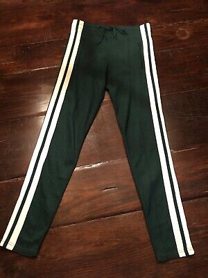 Isabel Marant Etoile Womens Track Pants Green with white stripe Size 38