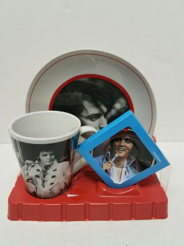 2015 Elvis Presley Gift Set Mug Plate Ornament  Christmas Damage Box