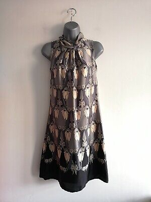 Oasis Black & Grey Floral Art Deco Style Silk Sleeveless Dress Size 8
