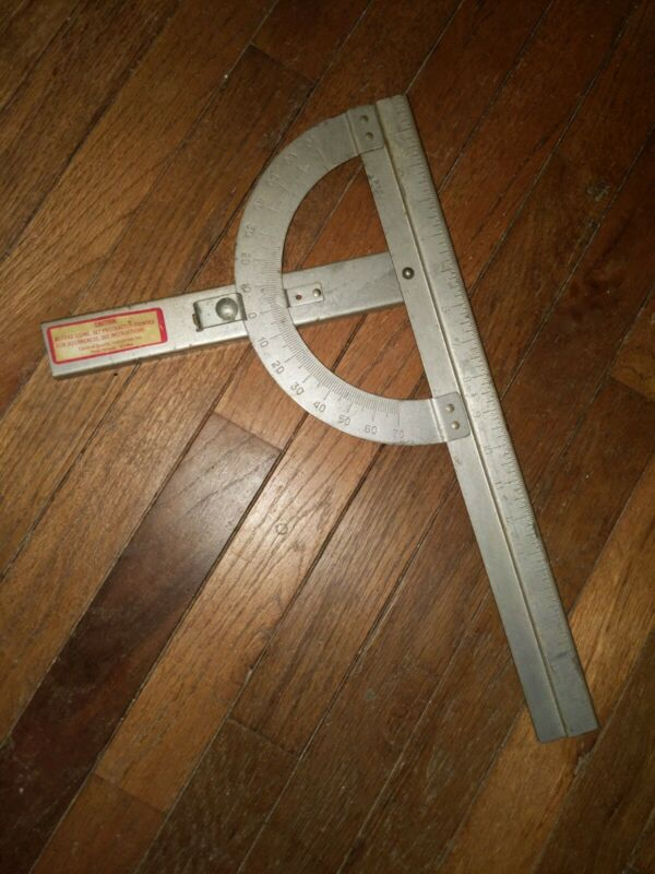 "Central Quality Industries - Vintage Protractor 18"" Metal for Squares"