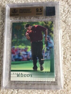 2001 UD TIGER WOODS #1 RC EVENT WORN SHIRT BGS 9.5  (A)