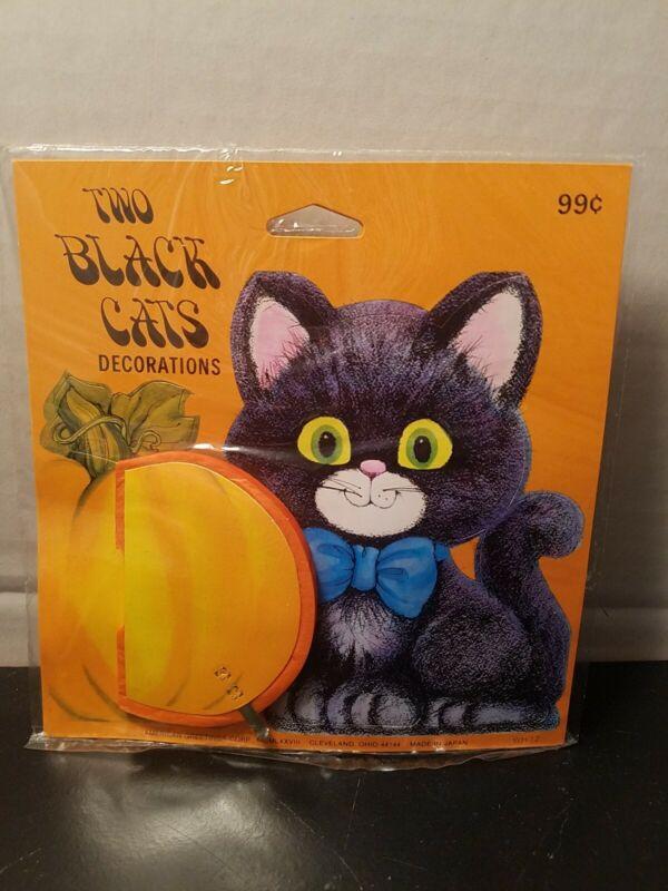 Vintage 1978 Black Cats Honeycomb Pumpkin Tabletop Decorations Brand New 2 pack