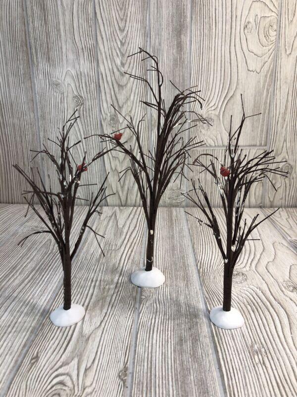 Dept 56Snow Village Bare Branch TreesSet of 3 Red Birds Cardinals