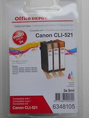 3 Tintenpatronen Office Depot zu Canon CLI-521 farbig C/Y/M kompatibel Neu +