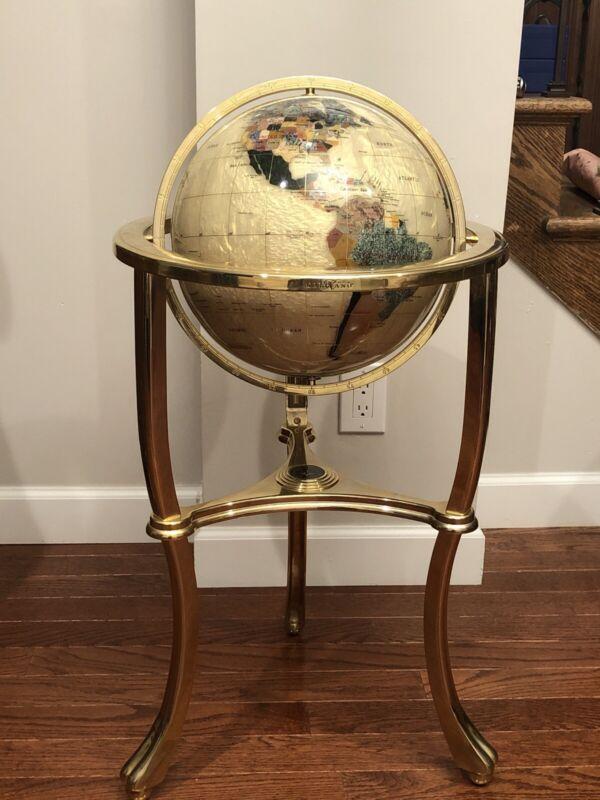 """Alexander Kalifano Vtg Gold Opelite Mother of Pearl Floor 34"""" World Globe $$$$"""