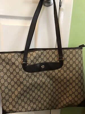 Vintage Authentic GUCCI Accessory Collection Brown Monogram GG Large Tote Bag