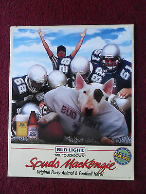 1988 Spuds MacKenzie Budweiser Bud Beer Poster ~ Mr Touchdown Football Hero