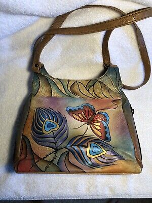 anuschka  Hand Painted 3 Compartment Satchel And Wallet