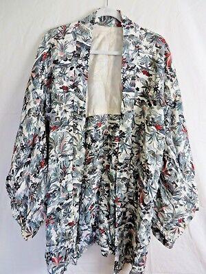Kimono Vintage Robe - Vintage Japanese Kimono Dressing Robe Multi Color Print  Lightweight #7816