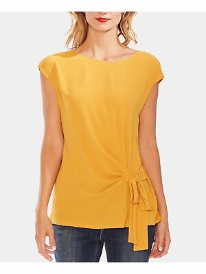VINCE CAMUTO Womens Yellow Cap Sleeve Jewel Neck Top Size: S