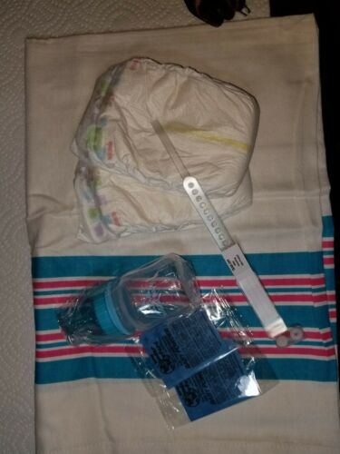 Reborn baby boy hospital starter kit, bottle, blanket, bracelet, diapers, wafers