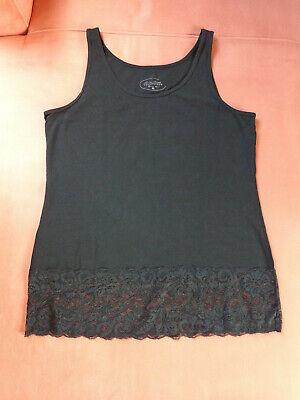 Longtop mit Spitze schwarz Gr. 42/44/XL online kaufen