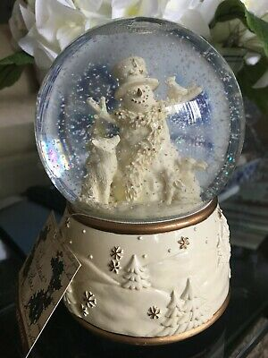 "Chestnut Lane Holiday Snowman Animals Musical Water Snow Globe ""Tis The Season"""