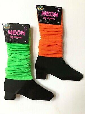 Orange Leg Warmers (Neon Green or Orange Footless Leg Warmers 80's Party Rave Club Glow Run)