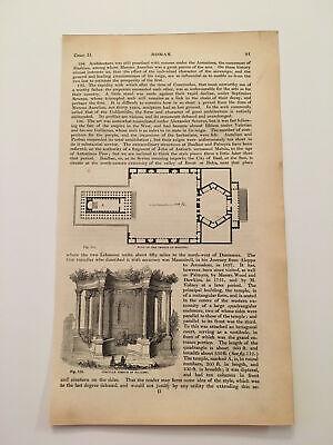 K65) Plan of Temple at Baalbek Lebanon Architecture History 1842 Engraving comprar usado  Enviando para Brazil