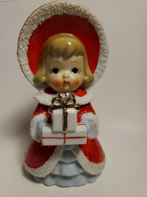 "Vintage Empress Christmas Red Dress 6"" Figurine With Gifts Japan"