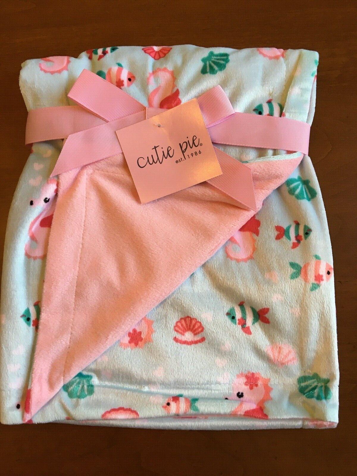 "Cutie Pie Baby Blanket MicroMink 30"" x 30"" Mint Pink Fish Se"