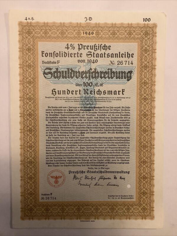Bond Germany WWII 1940 Stock Berlin 100 RM Eagle Symbol