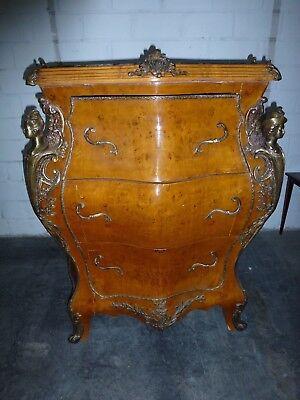 Kommode Louis XV Antik Stil Massivholz funiert intarsiert Barock Rokoko