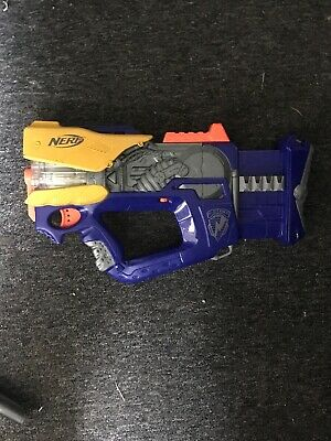 Nerf N-Strike Firefly Rev-8 Gun Blaster Blue Gray 8 Dart Barrel 2005 Tested