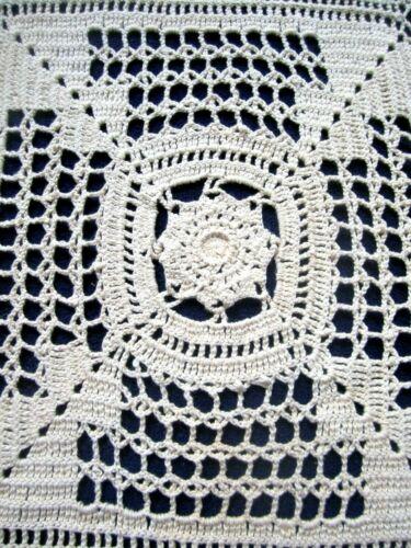 "Vintage Antique 1920s Ecru Hand Crochet Bedspread 96"" x 94"" Starburst w Fringe"