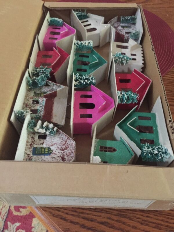 VTG. Christmas Putz Houses,  Japan, Original Box Rare 1950s, 10 Houses,1 church
