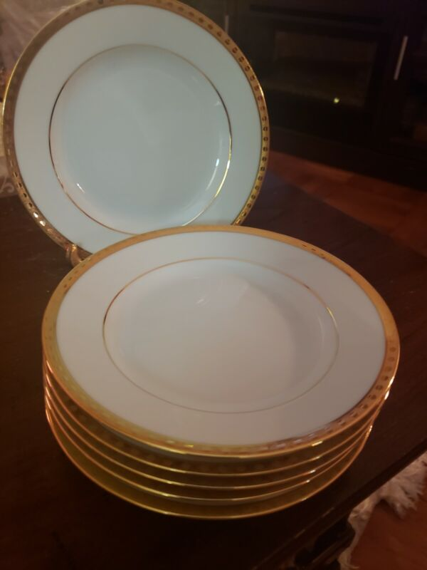 "RARE Tiffany And Co. France Limoges ""Gold Band"" Set Of 6 Bread And Butter Plates"