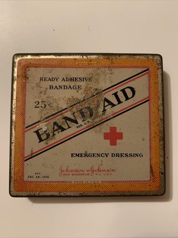 1926 Band Aid Band-Aid Sq Tin Antique Johnson &Johnson Advertising Vintage TR
