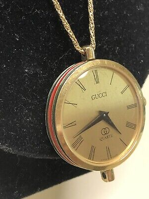 Rare Vintage Gucci Watch Necklace 14k Gold