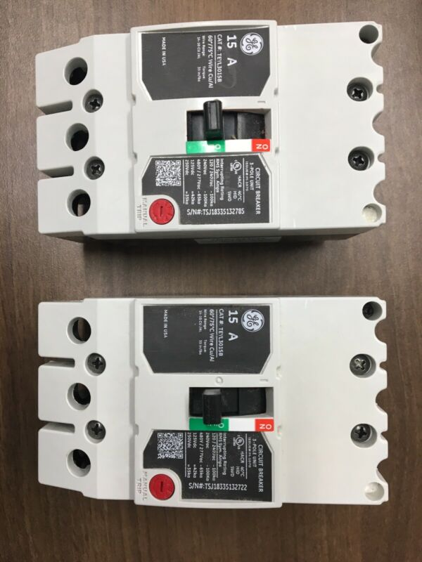 2 NEW GE TEYL3015B GENERAL ELECTRIC CIRCUIT BREAKERS 15 AMP 480V 3 POLE  - NEW