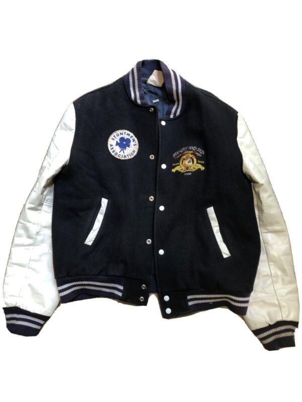 Rare Stuntmens Association Leather Letterman Jacket Metro Goldwyn Mayer 1988 VTG