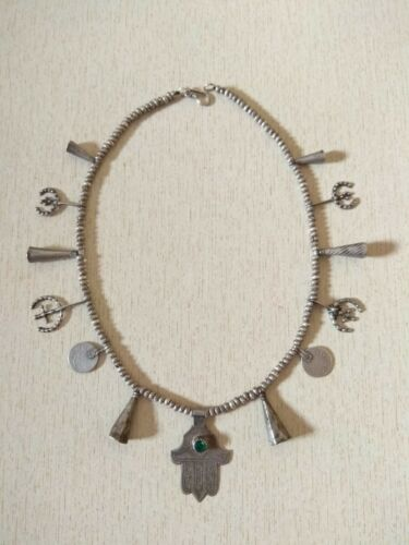 Antique Berber Silver Necklace from Morocco, Berber Necklaces