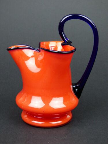 Tango red & blue glass pinched jug pitcher Art Deco Kralik Czech Bohemian 30s