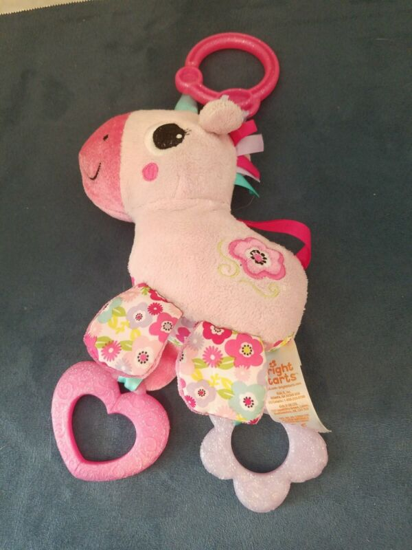 BRIGHT STARTS SPARKLE N SHINE UNICORN CHIME RATTLE TEETHER GRASPING PLUSH TOY