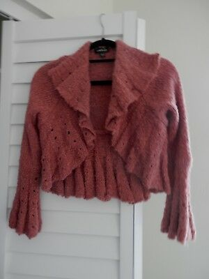 bebe.....RUFFLED  KNIT BELL SLEEVE PERFECT LITTLE SHRUG JACKET SWEATER... S/M ()