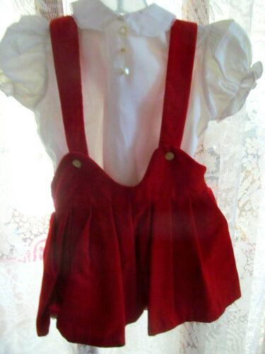 Vintage 50s Toddler Girl Red Velvet Skirt Jumper w/Blouse~Langs KWIKI~Size 2