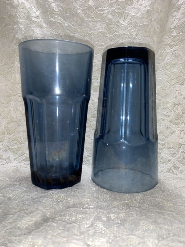 "LIBBEY DURATUFF ""GIBRALTAR"" DUSKY BLUE 6 1/2"" COOLER,Set Of 2, MADE IN USA"