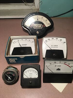 Lot Of Vintage Ac Dc Volts Panel Meter Ge Weston Avtek Milliamperes
