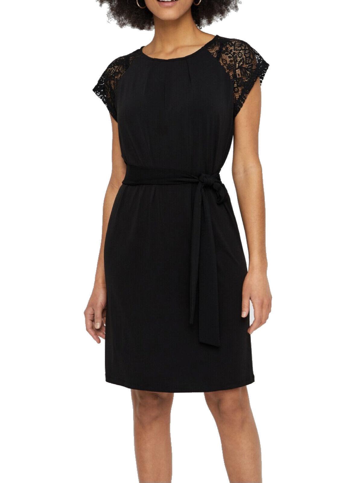 Vero Moda kurzes Damen Kleid Spitze Gürtel Knielang Festlich Party Abendkleid