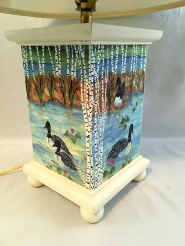 "Jean Oates Ole Plantation Hand Painted Lamp Ducks Cottage 20"" Wood Wooden"
